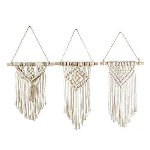Suading Tapiz de pared de 3 estilos bohemios y elegantes macramé para colgar en el hogar, decoración de la habitación, regalos para colgar en la pared