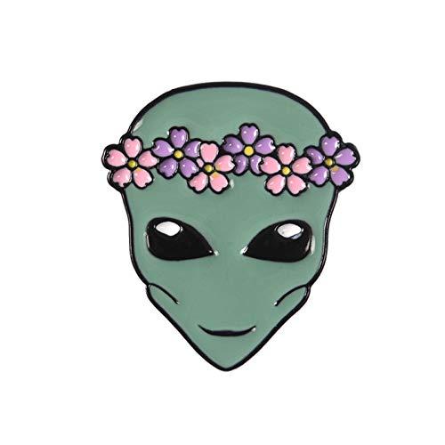 LEILEIMY Broche Ghost Alien Esmalte Pin Lindo Monstruo Corona Extranjero Baby Baby Baby Broche Lapel Denim Jean Camisa Bolso Dibujos de Dibujos Animados Regalo Accesorios (Metal Color : 1)