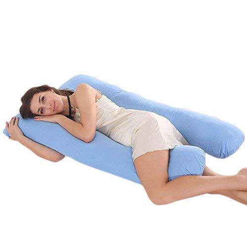 Ducomi BabyLuna - Cojín para Lactancia y Embarazo con Forro Doble - 100% Algodón Orgánico Lavable - Almohada de Maternidad Ergonómica para Mujeres y Bebes - Máxima Comodidad (Azul)