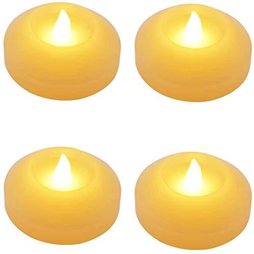 Velas flotantes de color marfil, velas de cera fundidas a mano, productos decorativos para fiestas de bodas, parpadeo lento, 4 unidades, luz blanca cálida