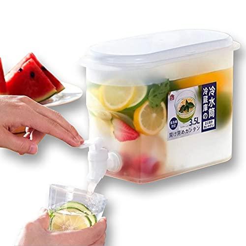 TKMON Dispensador de bebidas de 3,5 litros con grifo, dispensador de bebidas de agua con grifo, para hacer bebidas frías, café helado, refrescos de frutas, té perfumado, zumo.