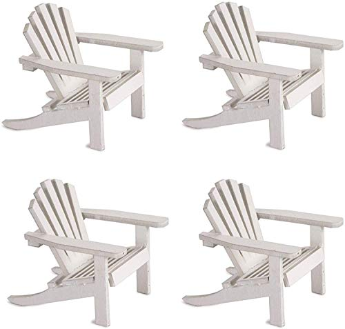Gute Bote Wood Adirondack Miniature Chair - Wedding Cake Topper Mini Doll Furniture Top Decoration Favor Beach Theme, Great for Dollhouse (White, 4 Pack)