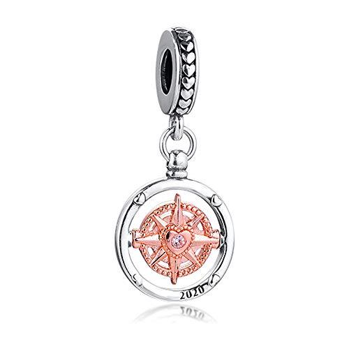 Chicbuy 2020 Valentinstagsgeschenk Rose 2020 Club Always Follow Your Heart Kompass Bead 925 Silber DIY passt für Original Pandora Armbänder Charm-Anhänger Modeschmuck