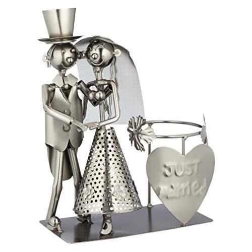 TFH Weinflaschenhalter Metall Eisen Flaschenständer Weinregal Metallfigur Motiv Geschenk Weinliebhaber (Brautpaar Just Married)