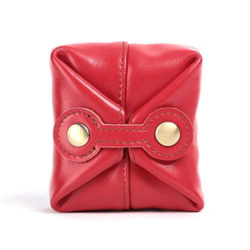 FANDARE Monedero Carteras Cuero Mini Billetera Impermeable Cartera Monedero Mujer Billetera Coin Purse para Viajar Partido Negocio Rojo a