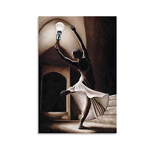 Póster de ballet con texto en inglés 'Un elegante bailarín' de danza y arte de la pared, impresión moderna de la decoración del dormitorio familiar de 50 x 75 cm