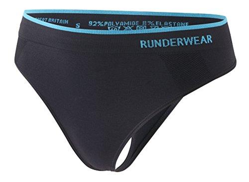 Runderwear G-String Tanga für Damen - Schnelltrocknend & Hautfreundlich - Ideal zum Joggen und Fitnesstraining, Schwarz, L