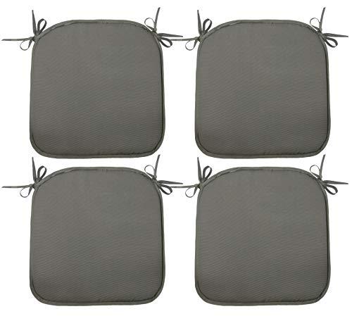 ZOLLNER 4er Set Stuhlkissen mit Bänder, 38x38 cm, grau (weitere verfügbar)