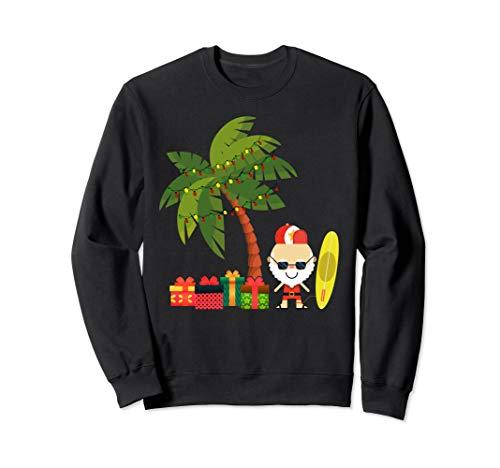 Weihnachtspalme mit Weihnachtsmann und Surfbrett Sweatshirt