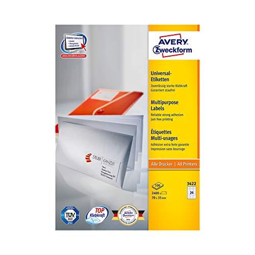 Avery Zweckform© 3422 Universal-Etiketten, 70 x 35 mm, Geeignet fr Deutsche Post INTERNETMARKE, 100 Blatt/2.400 Etiketten, weiá