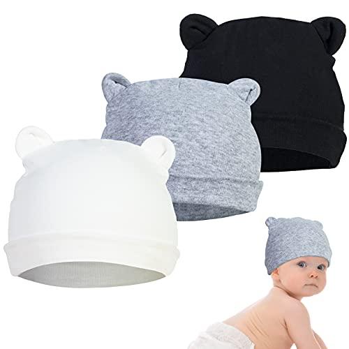 YSense 3 Pcs Gorro Bebe Recien Nacido, 0-6 Meses Sombrero De Beanie para Bebé Beanie Sombrero Otoño Invierno Negro Blanco Gris