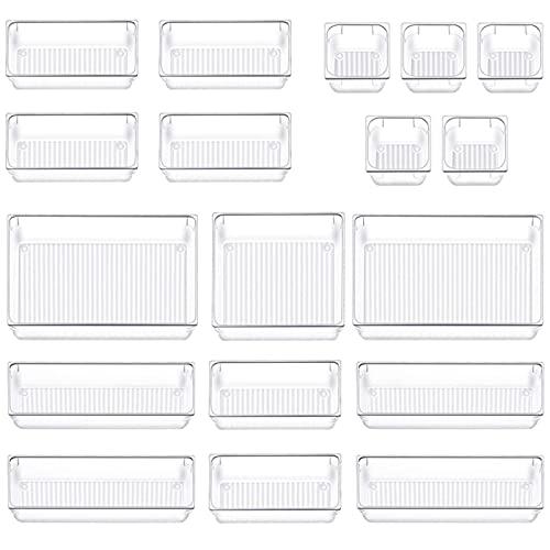 18 Stücke Schubladen Ordnungssystem, 5 Größen Schubladen Organizer, Kunststoff Aufbewahrungsboxen Divider Make-up Organizer für Schminktisch Kosmetik Büro Küche(Transparent)