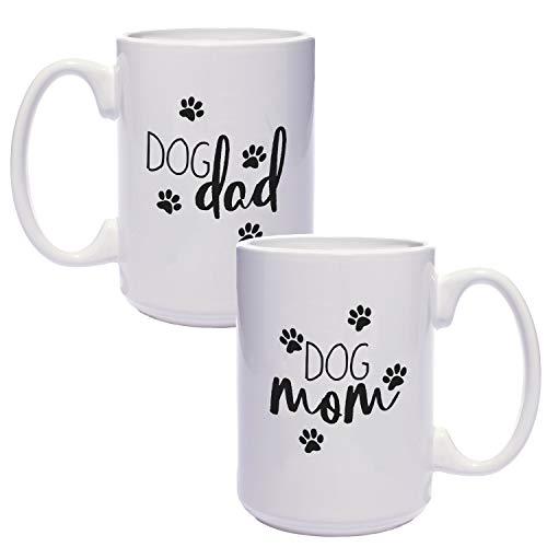 Dog Mom Dog Dad Mugs / Funny Gift Set For Dog Lovers / 15 Ounce White...