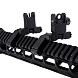 KNINE OUTDOORS 45 Degree Offset Iron Sights Flip Up BUIS Rapid Transition Backup Front Rear Iron Sight Set Picatinny Weaver Rails with Adjustment Tool