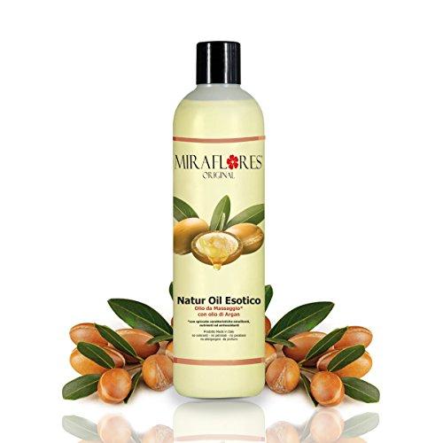 Olio da Massaggio con Olio di Argan - In Flacone da 500 ml - Emolliente, Nutriente e Antiossidante - Per Pelli Delicate e Sensibili - Massaggi Professionali, Avvolgenti e Rilassanti