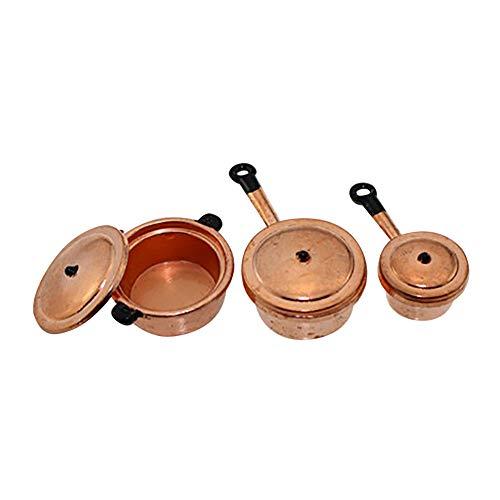 rycnet Juego de 3 utensilios de cocina en miniatura para casa de muñecas, cacerola, utensilios de cocina, cobre y negro