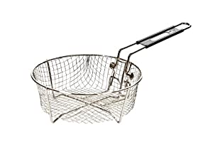 9 inch dia., 3.88 inch depth, black handle Folding handle for easy storage Made of durable nickel plated steel Deep fry favorite foods in commercial grade baskets that fit Lodge Dutch Ovens Hand wash with stiff brush