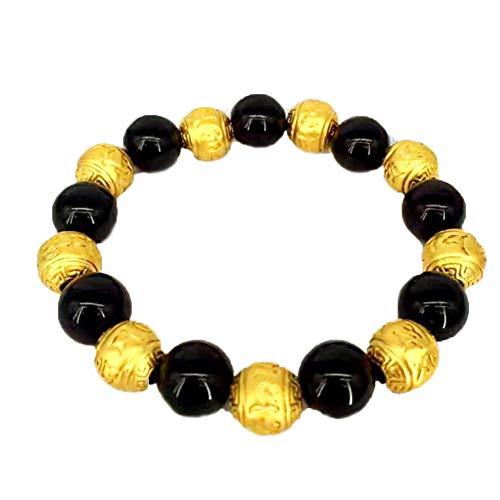 XINGYU - Pulsera para hombre en caja de regalo, chapada en oro de 18 quilates para hombre, pulsera de oro arena, con cuentas de ágata de lava, cuentas de oración elásticas, como se muestra