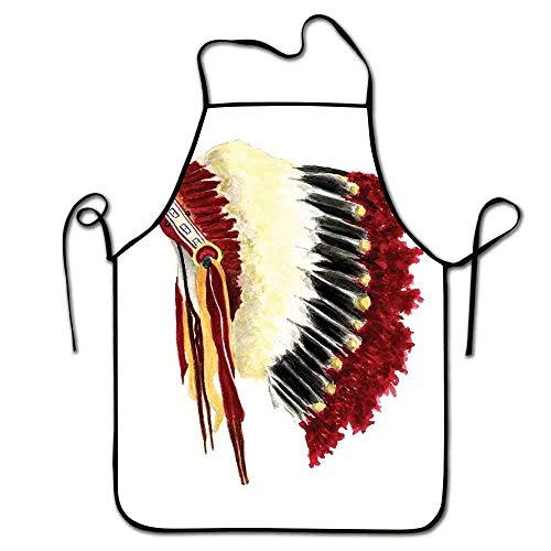 Not Applicable Tablier amérindien Bar Original Ethnique Symbolique Mystique Aigle Plume Coiffe Style de Vie Indien Tablier Costume Blanc Rouge Noir