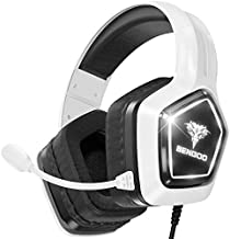 BENGOO G9700 Gaming Headset Headphones for PS4 PS5 Xbox One PC Controller, Noise Canceling Over Ear Headphones with Mic, White LED Light, Bass Surround Sound, Soft Memory Earmuffs for Mac Switch