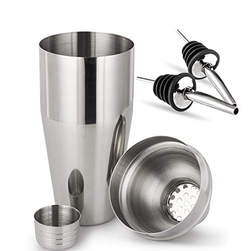 Cocktail Shaker 750ML, Cocktail Making Set Heavy Duty, Coktail Mixer with Jigger Cap & Strainer, Large Capacity for Drinks Bar Accessories Home Use