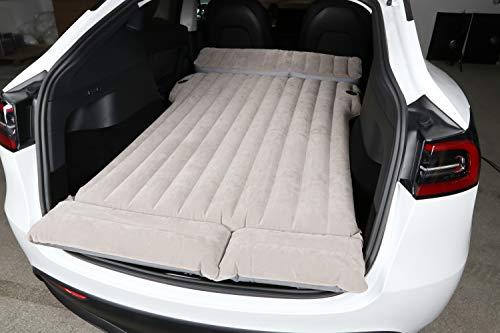 Aufblasbare Auto-Luftmatratze mit Pumpe, Beflockung, Reisematratze, Camping, Urlaub, Luftbett, kompakte Doppelgröße, LKW, SUV für Tesla Model 3, Modell Y, Modell X, Modelle S, andere 5-7 Sitze.