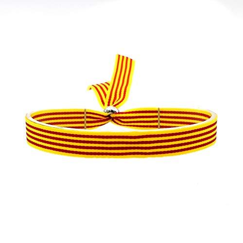 BDM Pulsera de Hombre y Mujer de Tela con la Bandera de Cataluña y Aragón. Ajustable a Cualquier Medida.