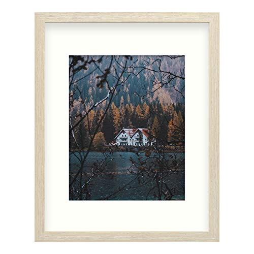 Frametory, Smooth Wood Grain Frame with Ivory Mat for Photo includes Sawtooth Hangers and Real Glass for Landscape/Portrait, Wall Display (Beige, 11x14 Frame for 8x10 Photo, 1-Pack)