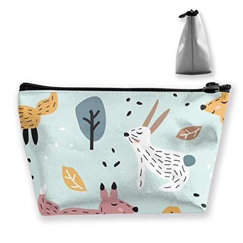 Patrón Infantil sin Costuras Cute Bunny Fox Bolsas de Almacenamiento de cosméticos...