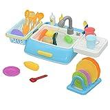 Yavso Spüle mit Wasser für Kinder, 28 Teilig Geschirrspüler Spielzeug Spülbecken Kinder Wasser Rollenspiel Küchenspielzeug für Kinder 3 4 5 6 7 Jahren