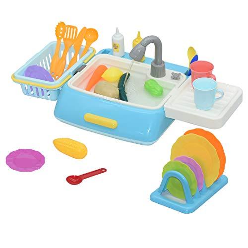Yavso Fregadero Cocina Juguete - 28 Piezas Fregadero con Agua - Juegos de Imitación - Lavaplatos Juguete para Niño y Niña 3 4 5 6 Años