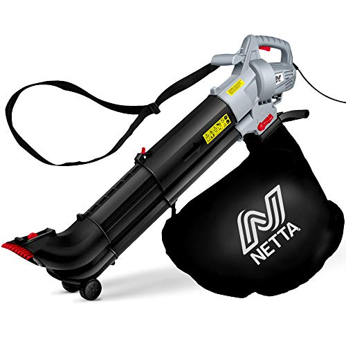 NETTA Leaf Blower and Vacuum 3 in 1 3000W With Rake - Garden Vac & Shredder - 35L Collection Bag 10:1 Shredding Ratio - Automatic Mulching Leaf in Bag - Telescopic Tube - 10m Cable – Garden Blower