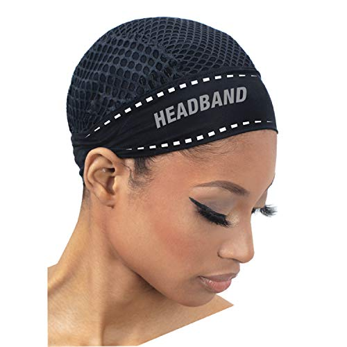 Freetress Create a Quick and Easy DIY Headband Wig In No Time Cooling HEADBAND CROCHET CAP (BLACK)