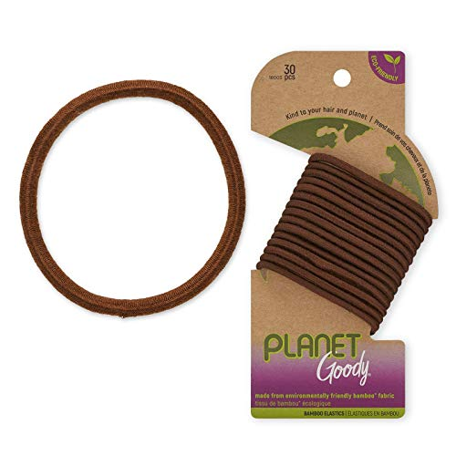 Goody Planet Goody Ouchless Elastic Thick Hair Tie - 30 Count, Brown - Medium Hair to Thick Hair - Bamboo Elastic and Eco-Friendly Fabric Hair Accessories for Women and Girl