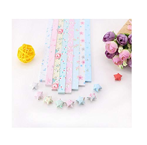 Establecer origami de estrella de impresión, papel de estrella de deseos, origami de estrella de cinco puntas, materiales creativos hechos a mano de bricolaje-Pequeña flor elegante 2