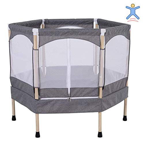 LXXTI Trampoline for Kids Indoor, Trampoline with Enclosure Net, Mini Trampoline Built-In Zipper, for Family Backyard School Entertainment, Weight Capacity 60Kg