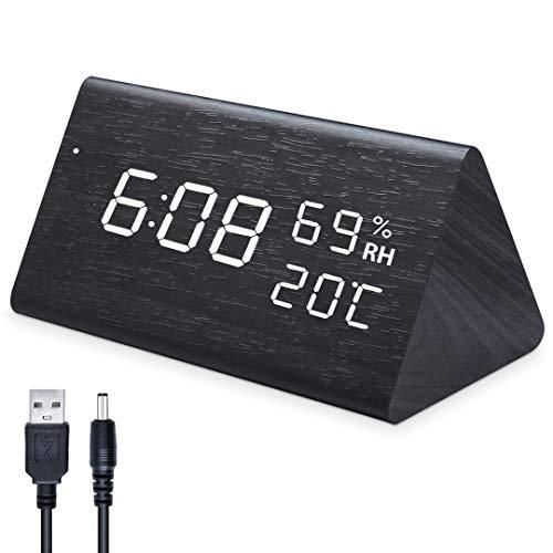 Qoosea Reloj Despertador LED Reloj de Alarma de Madera