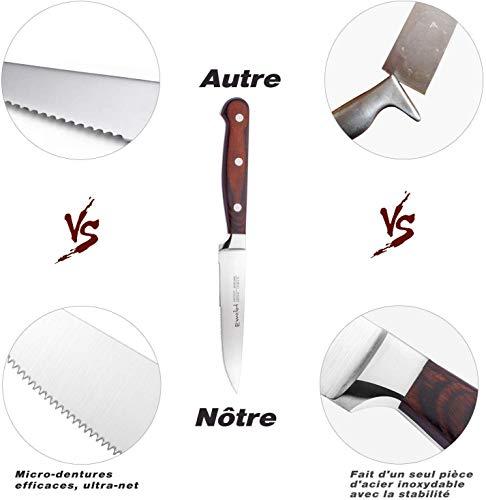 Cuchillos de Carne, Juego de 16 Cuchillos de Mesa de Acero ...
