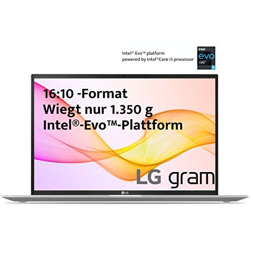 LG Gram 17 Zoll Ultralight Notebook - 1,350 kg Leichter Intel Core i5 Laptop (16GB LPDDR4 RAM, 512 GB SSD, bis zu 19,5 h Akkulaufzeit, WQXGA IPS Display, Thunderbolt 4, Windows 10 Home Plus) - Silver