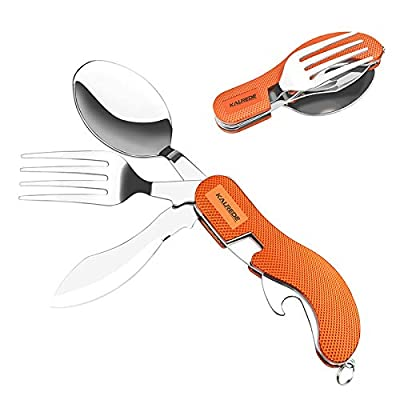 KALREDE Reusable Folding Camping Utensils Cutlery Set 4-in-1 Stainless Steel Camping Fork Knife Spoon Bottle Opener Set- Detachable Camping Flatware Silverware Set(Orange)