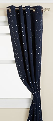 Best Home Fashion Premium Star Print Thermal Insulated Blackout Curtains - Antique Bronze Grommet Top - Navy - 52