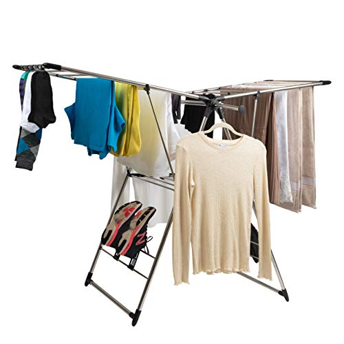 Baflan Stainless Steel Clothes Drying Rack - Laundry Rack with Hanging Rods Sock Clips and Shoe Hangers - Adjustable Gullwing and Foldable for Easy Storage