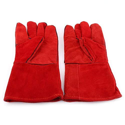 TopincN 1 paar lashandschoenen van rundleer en vuurvast lange handschoenen voor de Welding Grill BBQ open haard