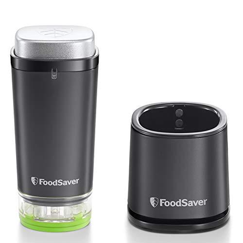 FoodSaver VS1192X - Envasadora al vacío de alimentos inalámbrica y portátil con base de carga, 1 recipiente para contenidos frescos y 5 bolsas con cremallera para contenidos frescos