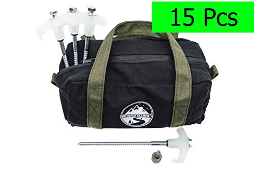 Outback Element 15 x Heavy Duty Steel Screw in Camping Tent Stakes/pegs with Glow in The Dark Heads with Bonus Canvas Carry Pouch + Hex Drill Bit