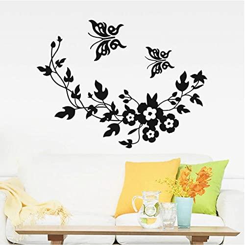Pegatina de pared de flores de mariposa 3D para habitación de niños dormitorio sala de estar pegatinas de nevera decoración del hogar pegatinas de pared DIY 34x28cm
