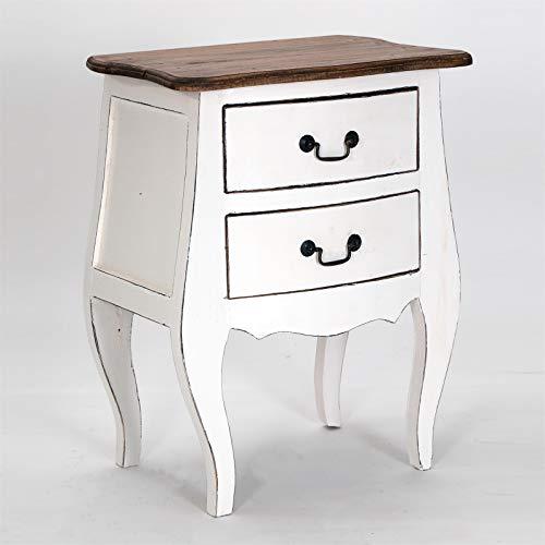 COMMODE aan de zijkant Louis | Mahonie hout, 64x48x35 cm (HxBxD) | Telefoontafel, consoletafel met 2 lades in Rococo-design, nachtkastje, haltafel | Kleur: 06 wit-landhuis