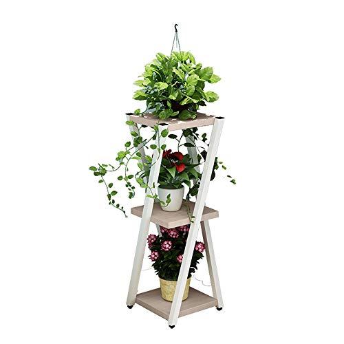 YINUO Cadre de Fleur En Fer Forgé Blanc 5 Couche Démontable Push-pull Poulie Économisez de L'espace Stand de Fleurs Balcon Salon Plancher Vert Pot De Fleur Rack 143cm (Color : B)
