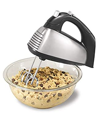 Hamilton Beach Classic 6-Speed Electric Hand Mixer with Snap-On Storage Case, Brushed Stainless, Traditional and Wire Beaters, Whisk