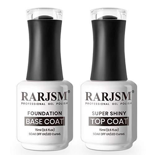 coat gels for nail arts RARJSM Gel Top Coat Nail Polish Set Gel Base and Top Coat 2PCS 15ML Glossy Top Coat Long Lasting UV LED Lamp Cured Gel Nail Polish for Nail Art Salon DIY at Home